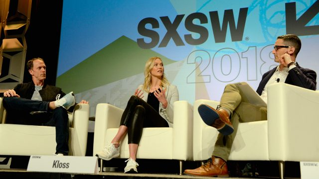 AUSTIN, TX - MARCH 12: (L-R) Adidas Head of Global Brands Eric Liedtke, Karlie Kloss and NPR's Guy Raz speak onstage at Create the World You Want to Live In during SXSW at Austin Convention Center on March 12, 2018 in Austin, Texas - Photo by Nicola Gell/Getty Images for SXSW