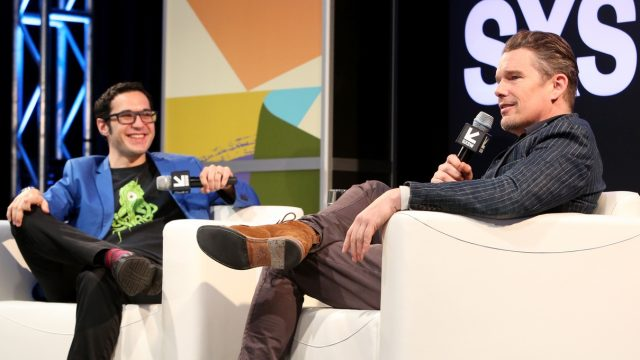 AUSTIN, TX - MARCH 13: Eric Kohn (L) and Ethan Hawke speak onstage during SXSW at Austin Convention Center on March 13, 2018 in Austin, Texas. (Photo by Travis P Ball/Getty Images for SXSW)
