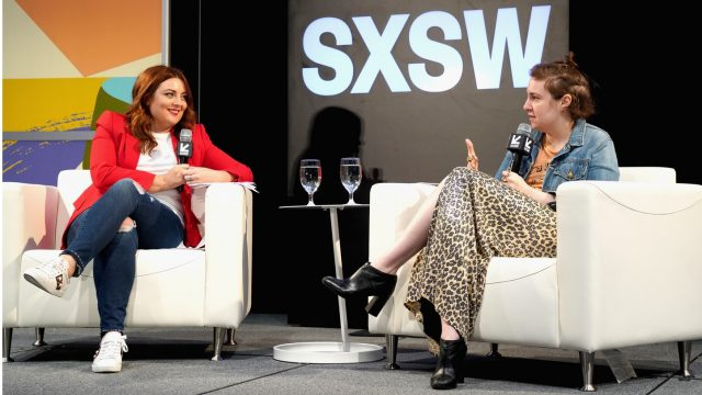 AUSTIN, TX - MARCH 10: Samantha Barry, Editor in Chief of Glamour and Lena Dunham speak onstage at Authenticity and Media in 2018 during SXSW at Austin Convention Center on March 10, 2018 in Austin, Texas. (Photo by Amy E. Price/Getty Images)