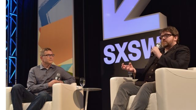 AUSTIN, TX - MARCH 12: David Baszucki and author Ernie Cline speak onstage at A Conversation with Ernie Cline during SXSW at Austin Convention Center on March 12, 2018 in Austin, Texas. (Photo by Chris Saucedo/Getty Images for SXSW)