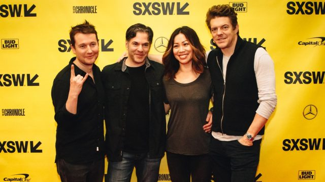 From left to right: Leigh Whannell, Steven Susco, Vera Miao, Jason Blum