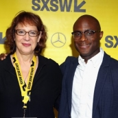 SXSW director of film Janet Pierson and filmmaker Barry Jenkins attend the Film Keynote during SXSW at Austin Convention Center on March 11, 2018 in Austin, Texas. (Photo by Travis P Ball/Getty Images for SXSW)