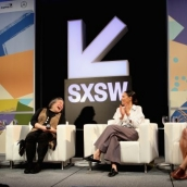(L-R) Hilary Rosen, Tina Tchen, Jurnee Smollett-Bell and Fatima Goss Graves attend Time's Up! Shifting the Imbalance of Power speak onstage at SXSW at Austin Convention Center on March 11, 2018 in Austin, Texas. (Photo by Mike Jordan/Getty Images for SXSW)