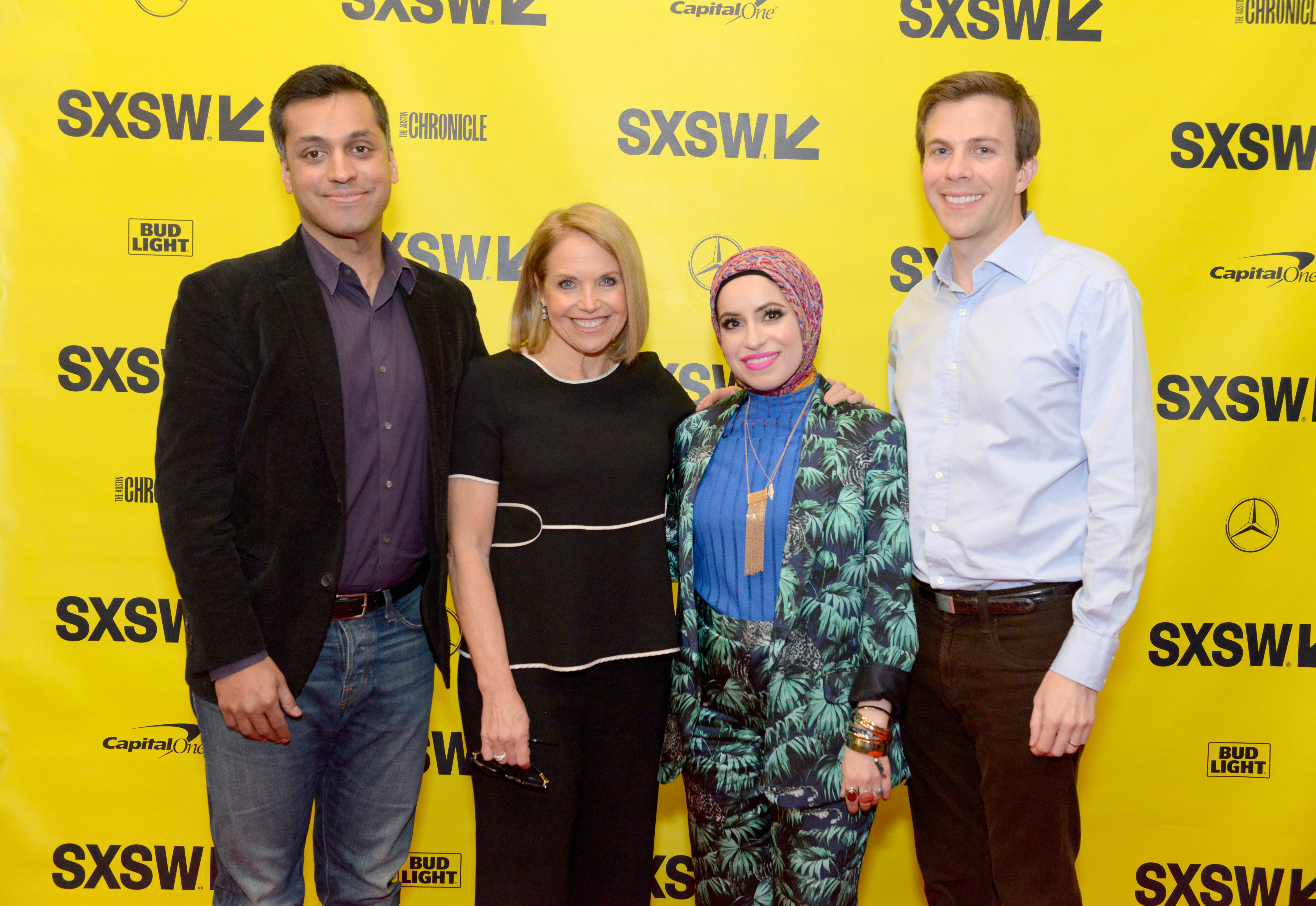 Wajahat Ali, Katie Couric, Mona Haydar and Brian Goldsmith attend Katie Couric podcast LIVE: The Muslim Next Door during SXSW at Austin Convention Center on March 11, 2018 in Austin, Texas. (Photo by Nicola Gell/Getty Images for SXSW)
