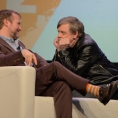 Director Rian Johnson (L) and Mark Hamill speak onstage at the Journey to Star Wars panel during SXSW at Austin Convention Center on March 12, 2018 in Austin, Texas. (Photo by Nicola Gell/Getty Images for SXSW)