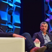 Dylan Byers & Eddy Cue | Photo by Jason Bollenbacher/Getty Images