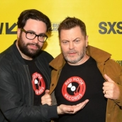 """Brett Haley and Nick Offerman attend the """"Hearts Beat Loud"""" Premiere 2018 SXSW Conference and Festivals at Paramount Theatre on March 14, 2018 in Austin, Texas. (Photo by Matt Winkelmeyer/Getty Images for SXSW)"""