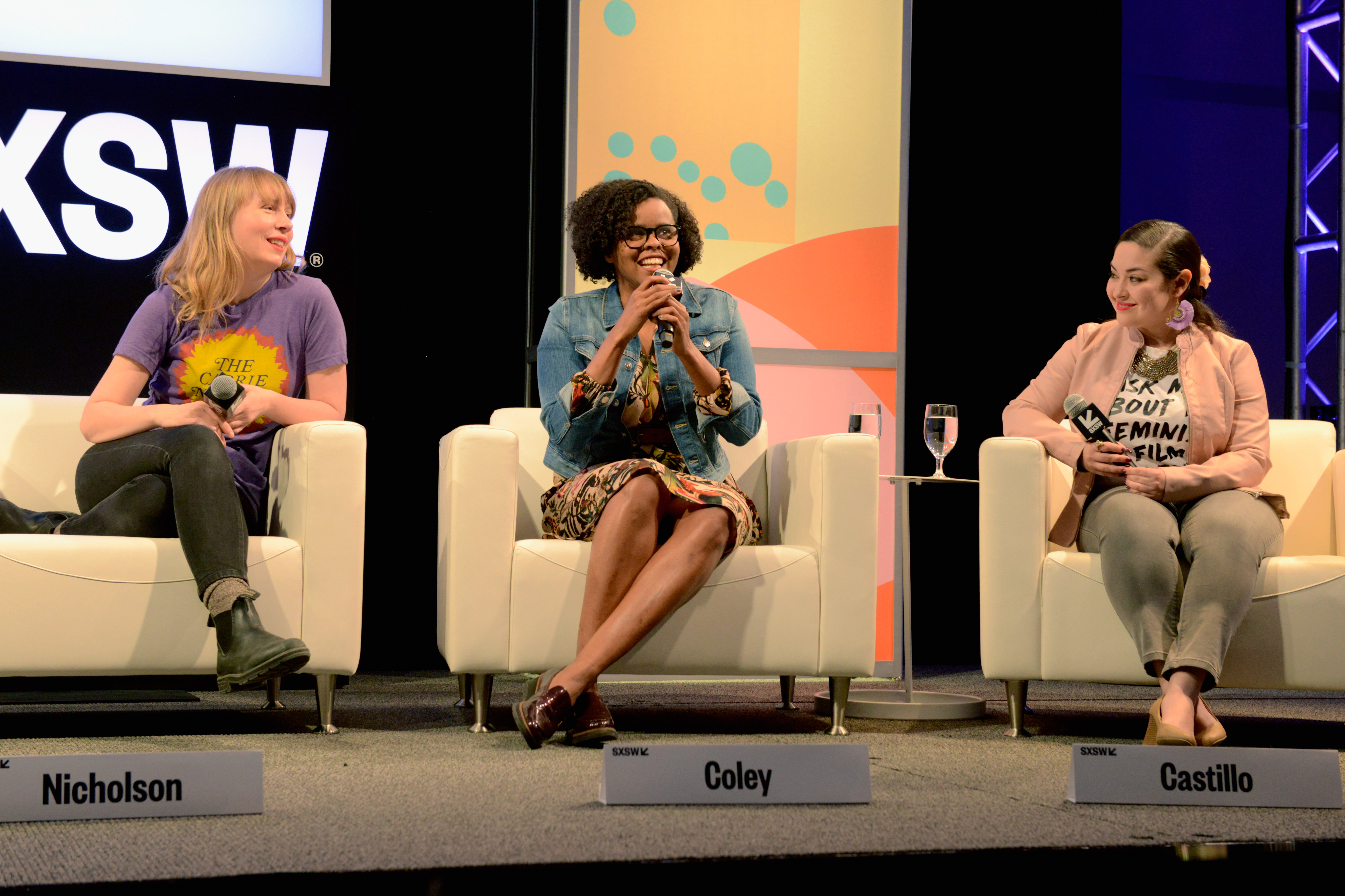 Amy Nicholson, Jacqueline Coley and Monica Castillo speak onstage at The Female Voices of Film Twitter during SXSW at Austin Convention Center on March 11, 2018 in Austin, Texas. | Photo by Nicola Gell/Getty Images
