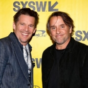 """Ethan Hawke (L) and Richard Linklater attend the premiere of """"First Reformed"""" during SXSW at Elysium on March 13, 2018 in Austin, Texas. (Photo by Sean Mathis/Getty Images for SXSW)"""