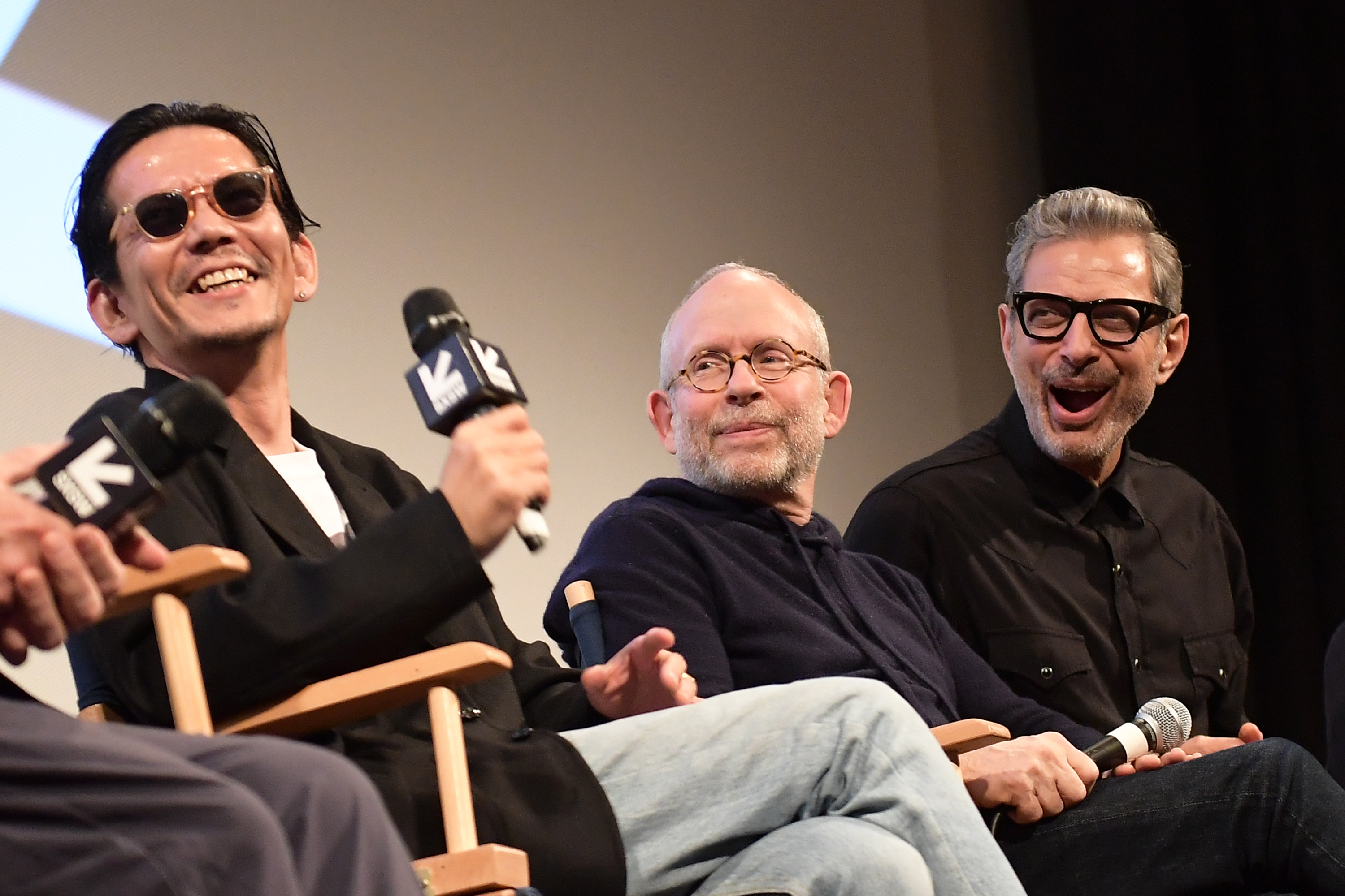 """Kunichi Nomura, Bob Balaban, and Jeff Goldblum attend the """"Isle of Dogs"""" Premiere - 2018 SXSW Conference and Festivals at Paramount Theatre on March 17, 2018 in Austin, Texas. (Photo by Matt Winkelmeyer/Getty Images for SXSW)"""