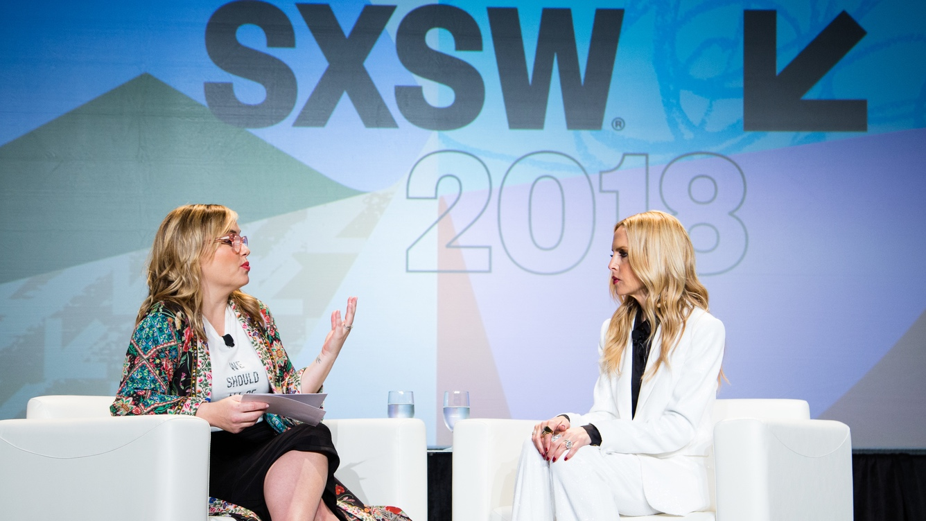Hillary Kerr and Rachel Zoe in SXSW 2018 Session Adaptability in Fashion's Changing Landscape - Photo by Kit McNeil