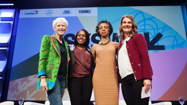 Keynote Speaker Melinda Gates with Joanna Coles, Nina Shaw, and Stacy Brown-Philpot - Photo by Samantha Burkardt