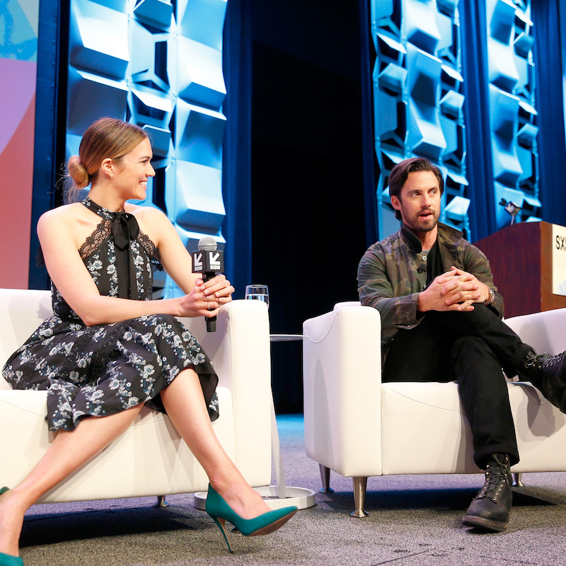 AUSTIN, TX - MARCH 13: Mandy Moore (L) and Milo Ventimiglia speak onstage at Featured Session: The Cast of
