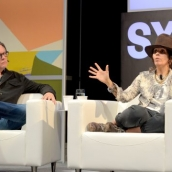 Kerry Brown and Linda Perry speak onstage during SXSW at Austin Convention Center on March 15, 2018 in Austin, Texas. (Photo by Nicola Gell/Getty Images for SXSW)