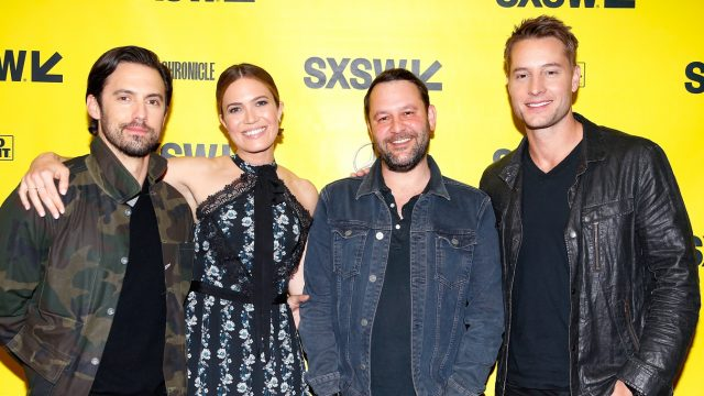 AUSTIN, TX - MARCH 13: (L-R) Milo Ventimiglia, Mandy Moore, Dan Fogelman, and Justin Hartley attend Featured Session: The Cast of