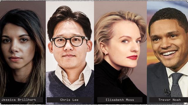 Speaker photos (l-r): Jessica Brillhart, Chris Lee, Elisabeth Moss, and Trevor Noah
