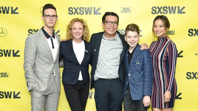 (L-R) Actors Cory Michael Smith and Virginia Madsen, director Yen Tan, and actors Aidan Langford and Jamie Chung attend the
