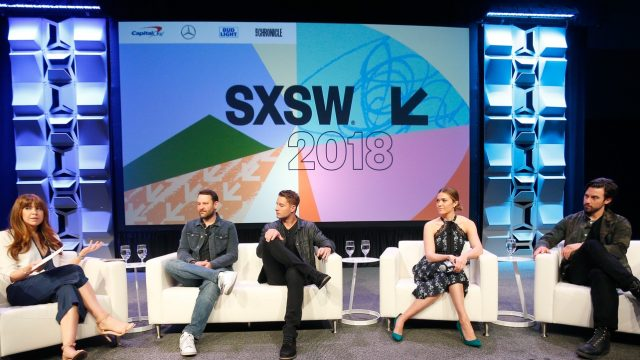 AUSTIN, TX - MARCH 13: (L-R) Elizabeth Berger, Dan Fogelman, Justin Hartley, Mandy Moore, and Milo Ventimiglia speak onstage at Featured Session: The Cast of