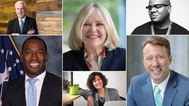 SXSW EDU 2019 speakers (t-b, l-r) Paul LeBlanc, Jane Oates, Rob English, Mayor Levar Stoney, Connie Yowell, and Mayor Shane Bemis.