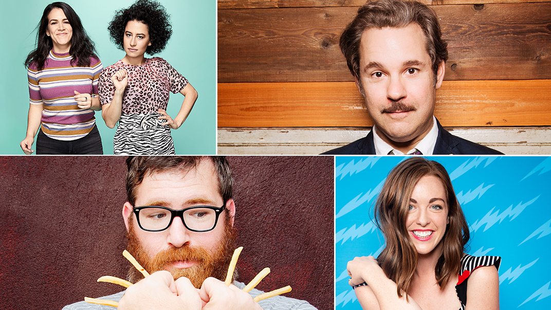 2019 SXSW Comedy participants (l-r): Abbi Jacobson and Ilana Glazer - Photo by Art Streiber; Paul F. Tompkins - Photo by Mindy Tucker; Mike Lawrence; and Megan Gailey.