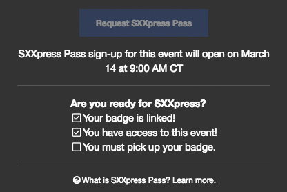 SXXpress Pass Checklist