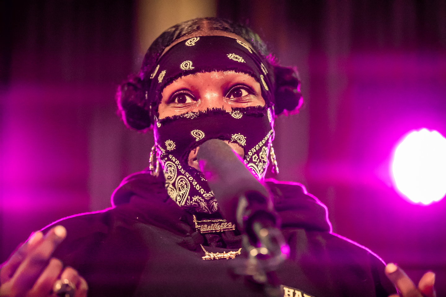 Leikeli47 performs onstage at NPR Tiny Desk Concert at Central Presbyterian Church.
