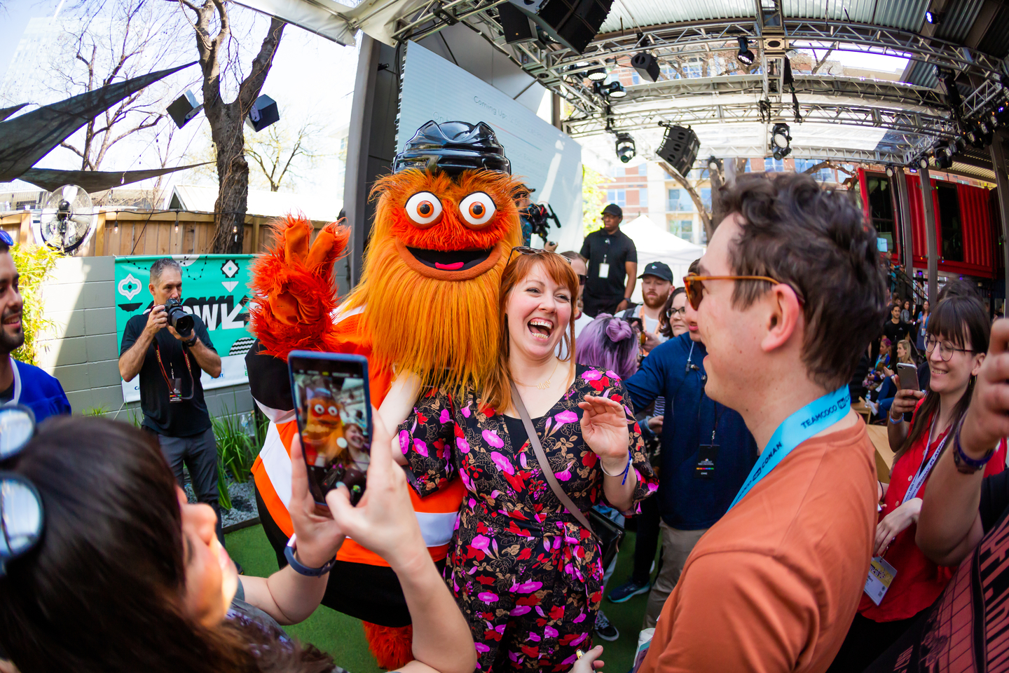 Gritty at the Comcast NBCUniversal House - Photo by Aaron Rogosin