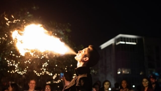 The Good Omens Pop Up hosted a festive fire breather.