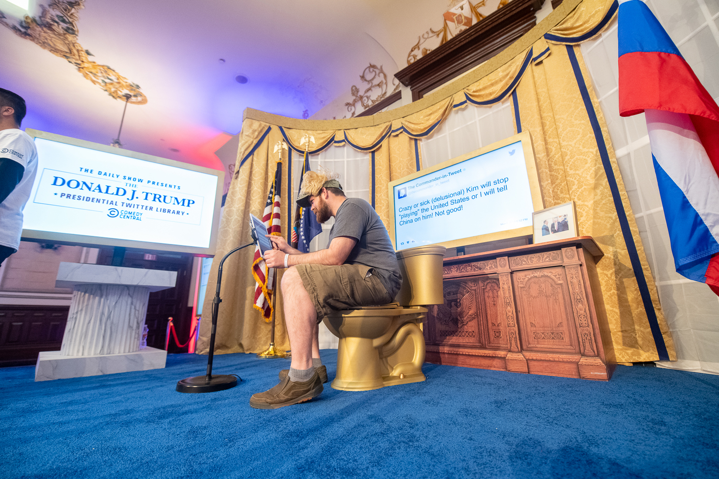 Presented by The Daily Show with Trevor Noah, stop by The Driskill Hotel to explore The Donald J. Trump Presidential Twitter Library.