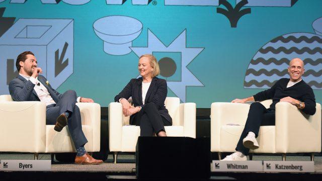 Dylan Byers, Meg Whitman, and Jeffrey Katzenberg - 2019 - Photo by Dave Pedley