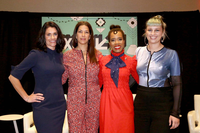 (L-R) Jennifer DaSilva, Rebecca Minkoff, Kimberly Jenkins, and Becca McCharen-Tran onstage at Feminist Rising: Why Brands Must Take a Stand.