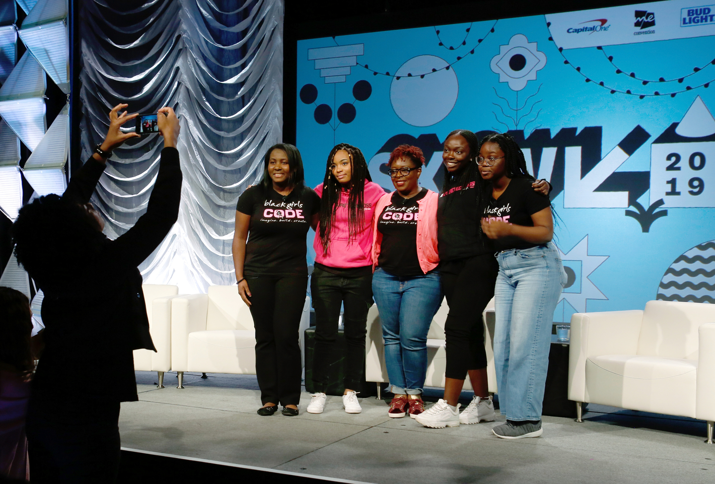 (L-R) Alexandra Philip, Kai Morton, Kimberly Bryant, Aminata Dieng, and Olivia Ross speak onstage at Featured Session: Behind the Click: Securing the Future for Black Women and Girls in Tech - Photo by Sean Mathis/Getty Images for SXSW