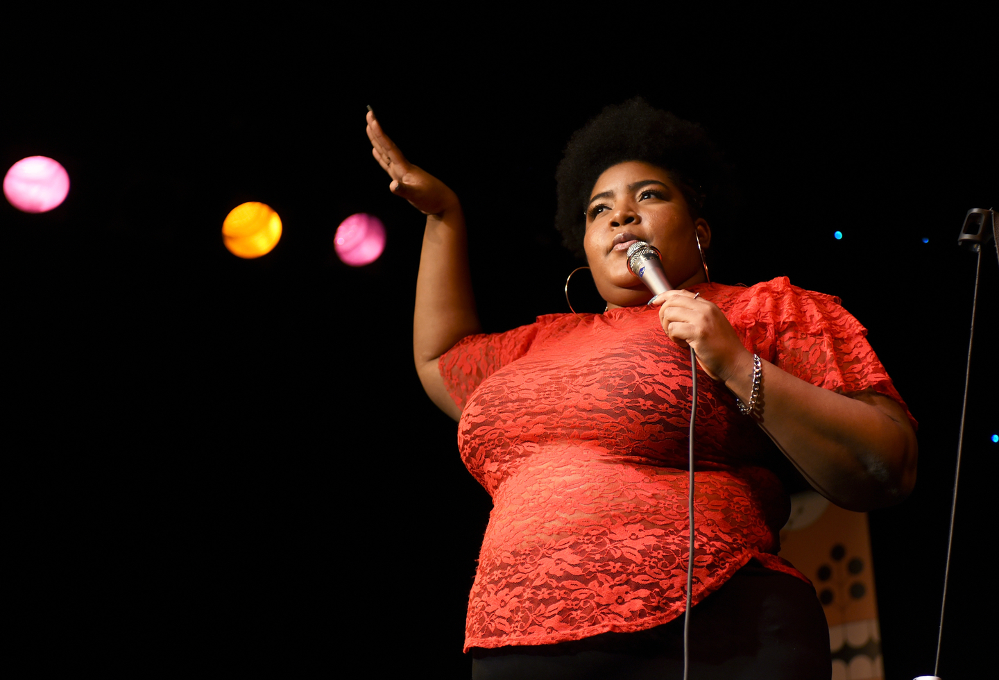 Dulcé Sloan performs onstage at The Daily Show News Team Live at Esther's Follies.