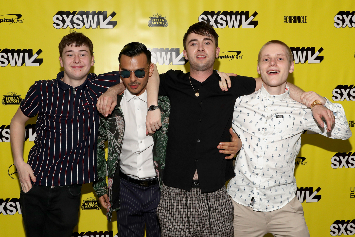 (L-R) Samuel Bottomley, Viraj Juneja, Rian Gordon, and Lewis Gribben attend the Boyz In The Wood world premiere. Photo by Hutton Supancic/Getty Images for SXSW
