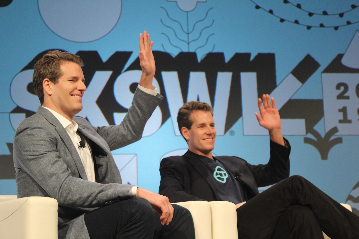 Cameron and Tyler Winklevoss at their Featured Session about the cryptocurrency revolution - Photo by Noah Ainsworth