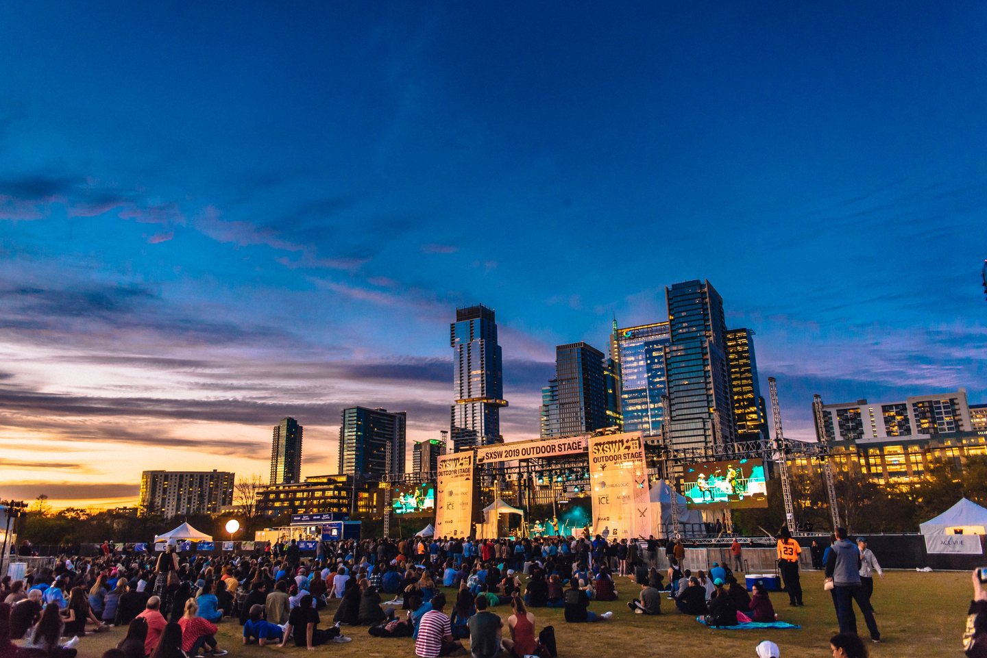 View of the crowd at the SXSW Outdoor Stage at Lady Bird Lake presented by 101X.