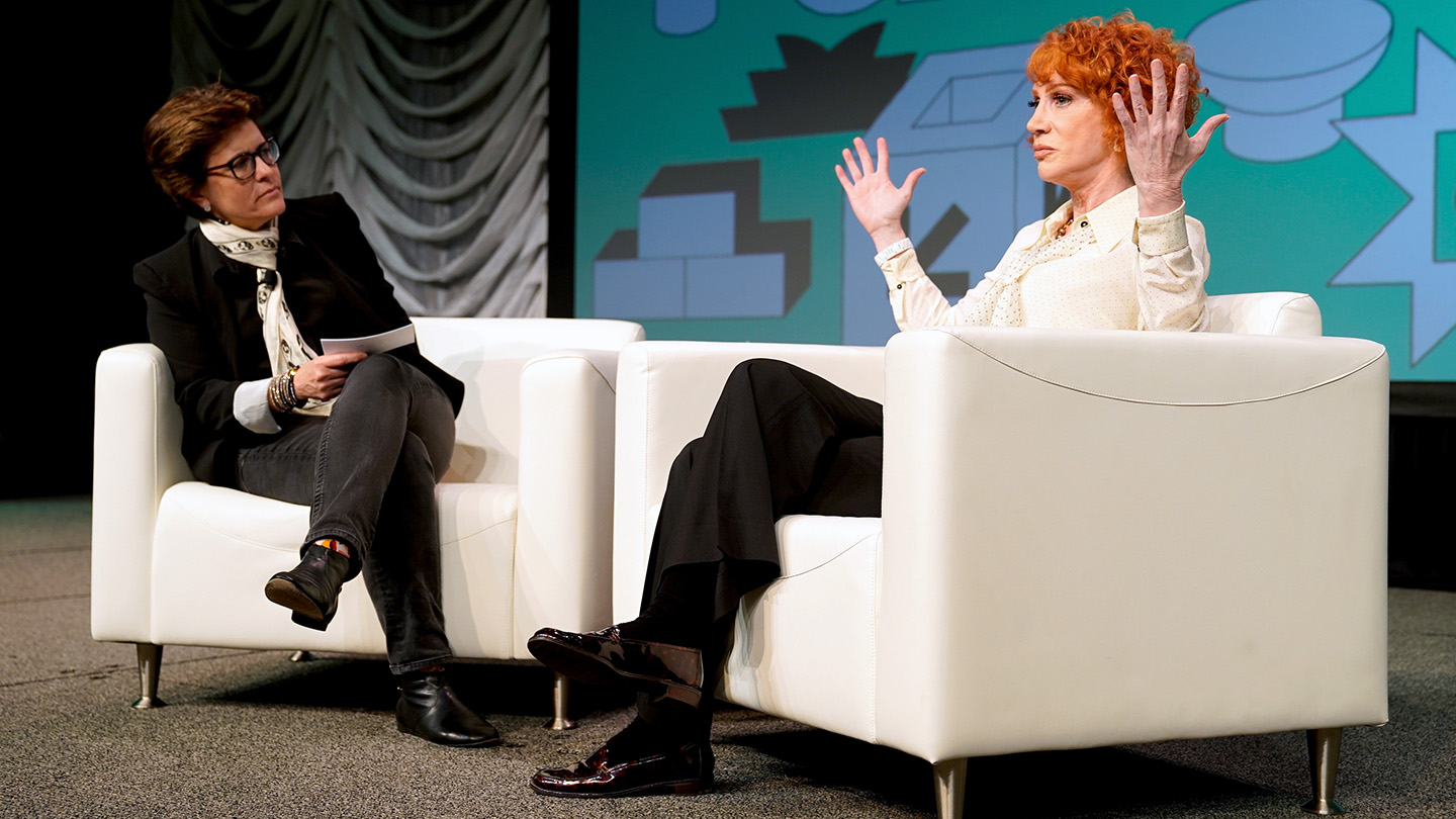 Kathy Griffin with Kara Swisher at their Convergence Keynote.