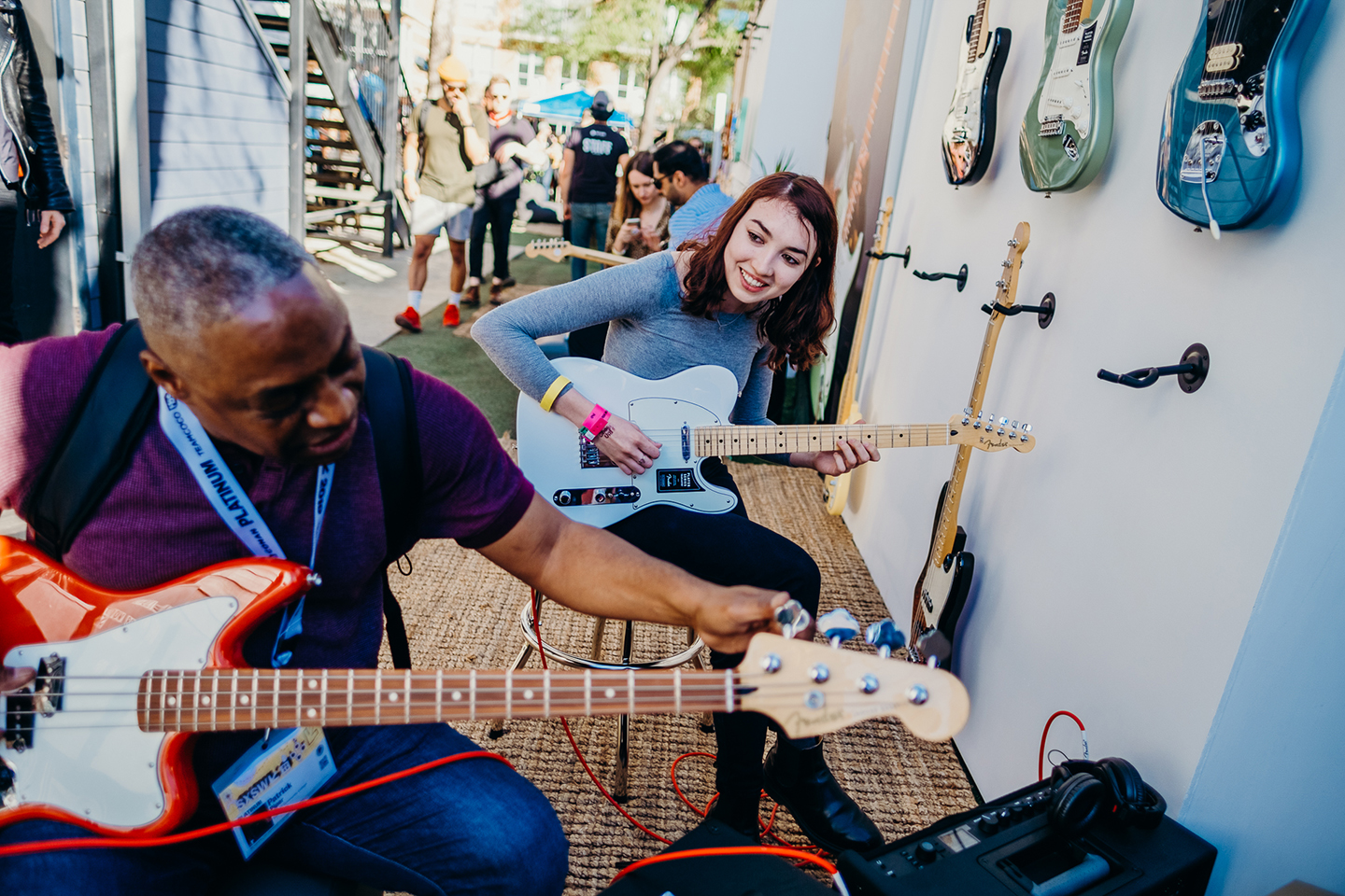 Festivalgoers attend The Fender Next House. at Lustre Pearl. Photo by Sara Strick