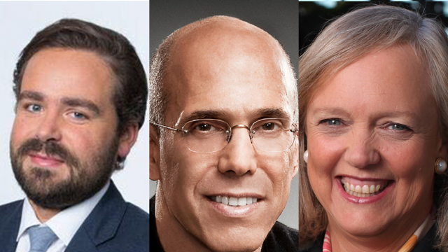 SXSW 2019 Convergence Keynote Speakers Jeffrey Katzenberg, Meg Whitman, and Dylan Byers