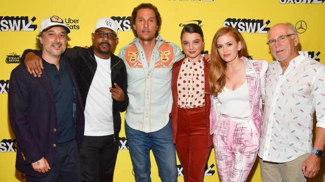 AUSTIN, TEXAS - MARCH 09: Harmony Korine, Martin Lawrence, Matthew McConaughey, Stefania LaVie Owen, Isla Fisher, and Jimmy Buffett attend the