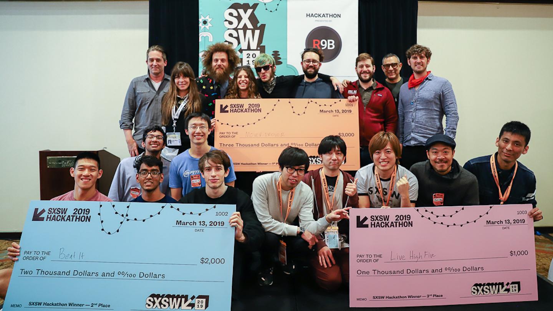 Winning teams of the 2019 SXSW Hackathon - Photo by Kenneth Eke