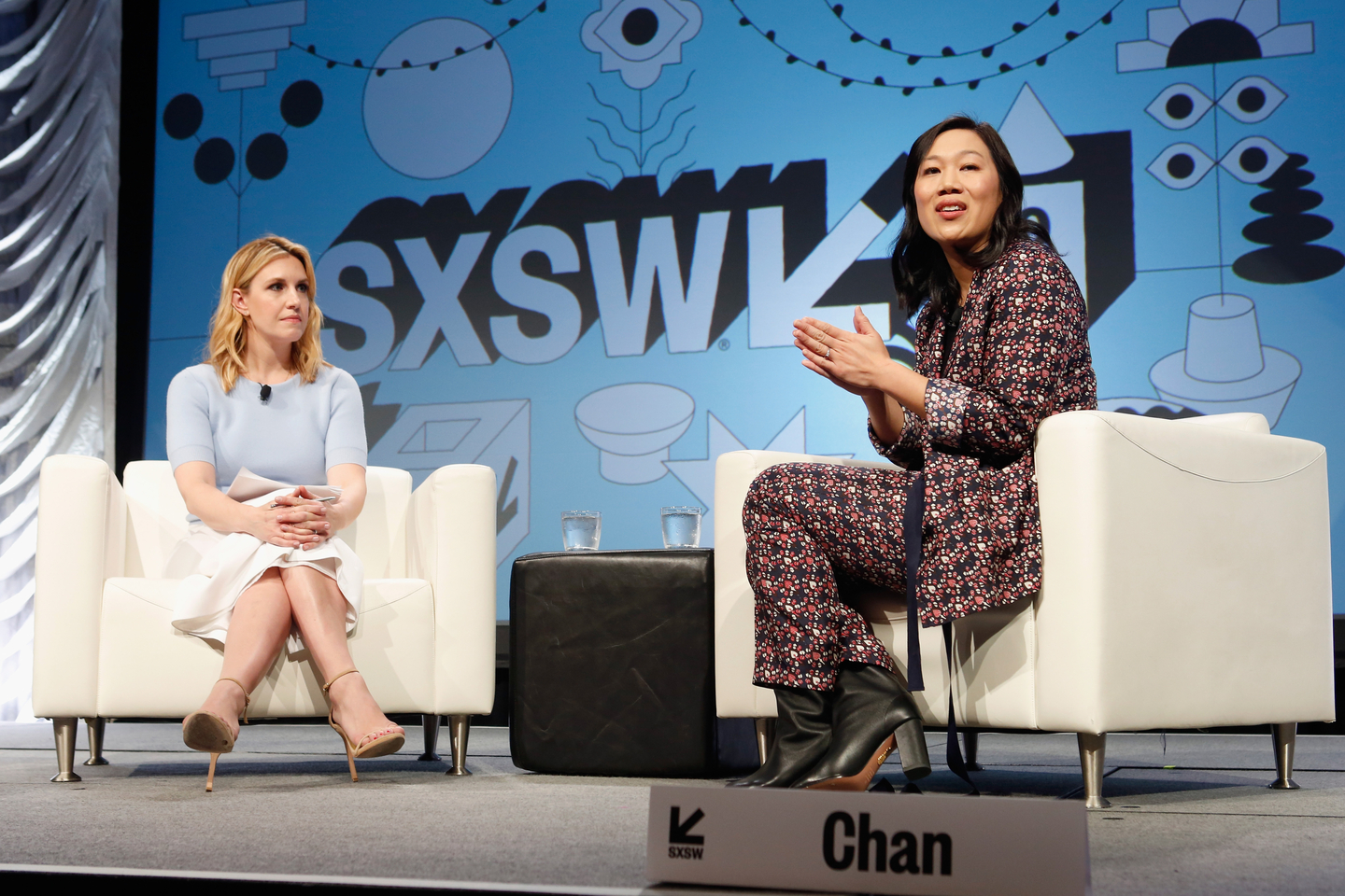 Poppy Harlow (L) and Priscilla Chan at their Featured Session. To Go Far, Go Together: Technology's New Imperative.