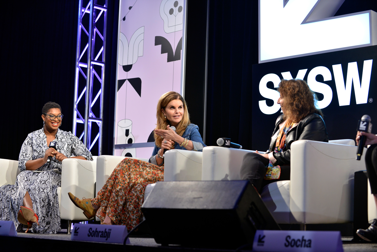 (L-R) Ashley C. Ford, Maria Shriver and Farida Sohrabji at their Featured Session, a candid conversation about women's brain health and the mind-blowing implications for us all.
