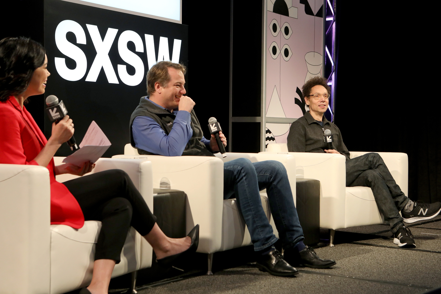 (L-R) Jo Ling Kent, Chris Urmson, and Malcolm Gladwell at Featured Session: Self-Driving Cars: The Future is When? Photo by Samantha Burkardt/Getty Images for SXSW