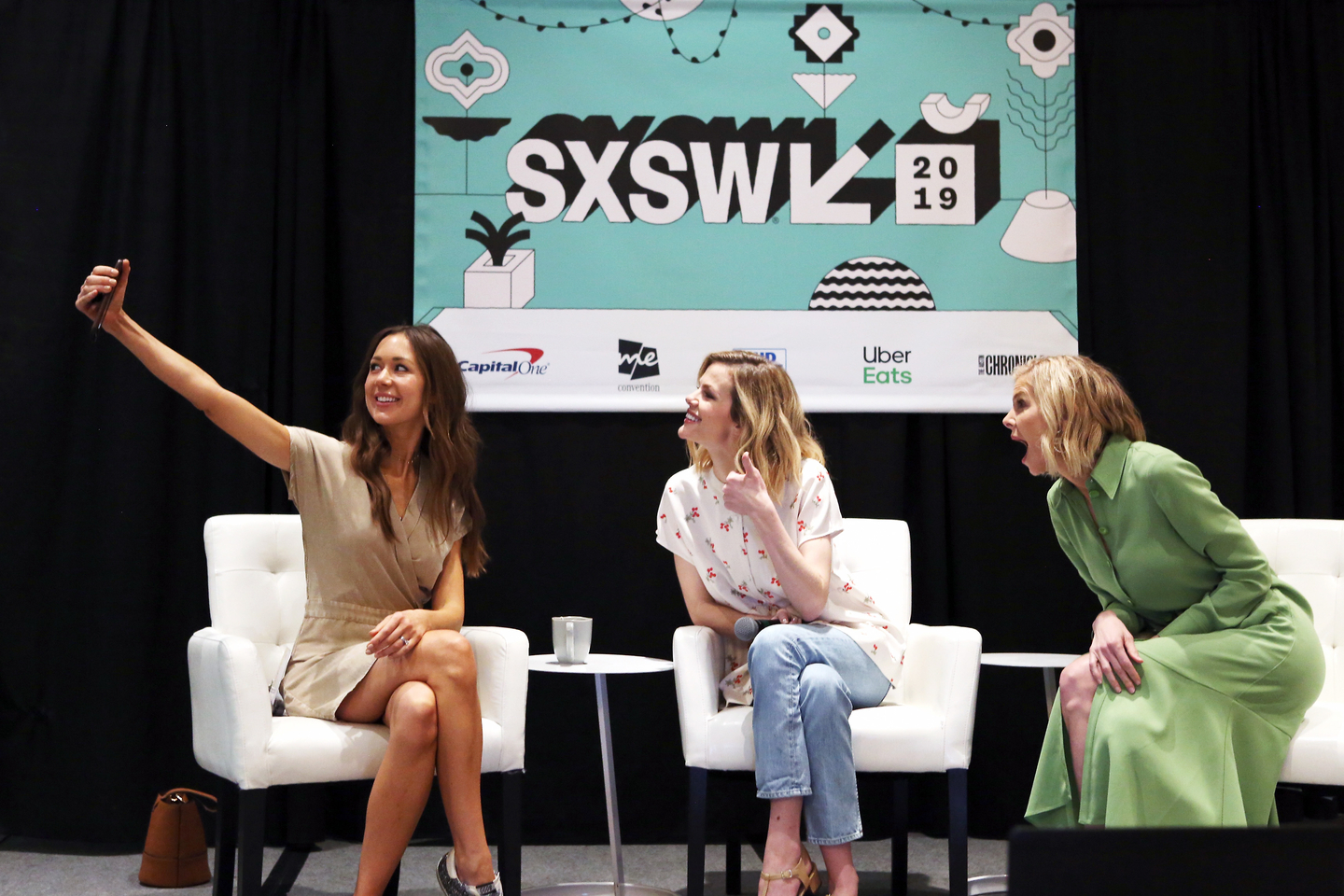 (L-R) Camille Styles, Brooklyn Decker, and Whitney Casey at Promoting a Sustainable Fashion Economy with Tech - Photo by Travis P Ball/Getty Images for SXSW