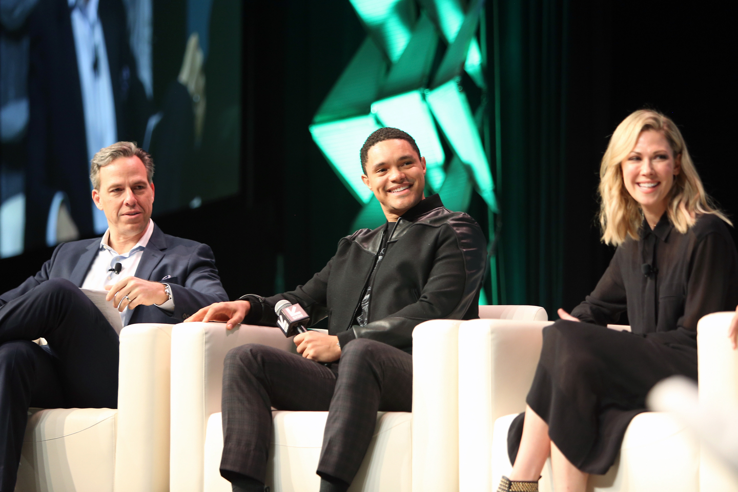 Jake Tapper, Trevor Noah, and Desi Lydic at their Featured Session - Photo by Travis P Ball/Getty Images for SXSW
