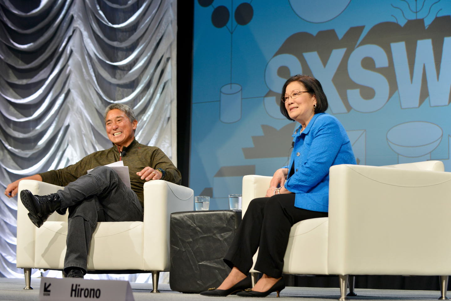 (L-R) Guy Kawasaki and Senator Mazie K. Hirono at their Featured Session - Photo by Nicola Gell/Getty Images for SXSW