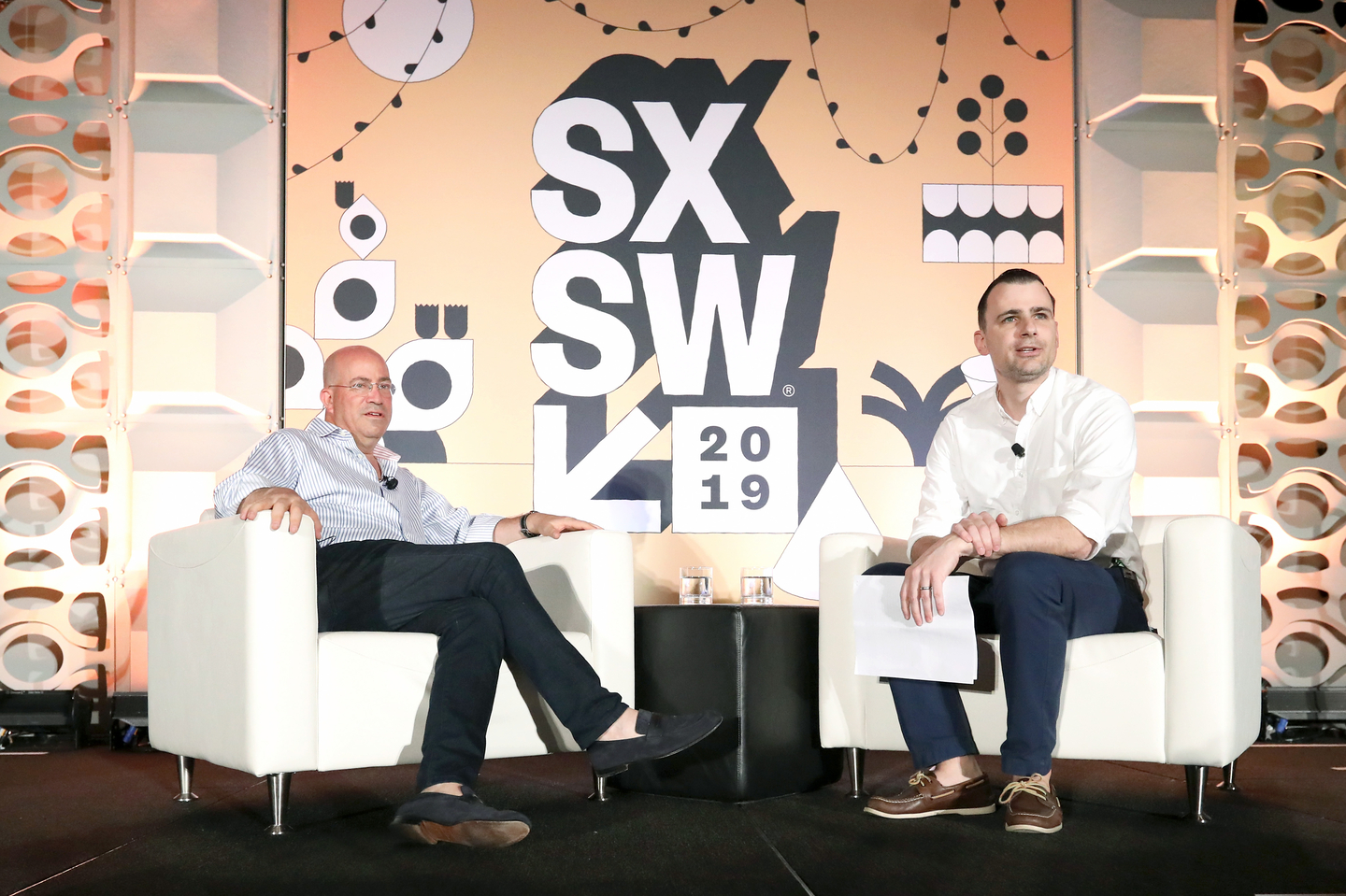 (L-R) Jeff Zucker and Joe Pompeo at their Featured Session - Photo by Diego Donamaria/Getty Images for SXSW