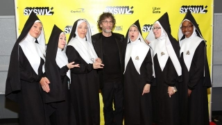 Neil Gaiman (C) with Good Omens' Chattering Order of St. Beryl – Photo by Travis P Ball/Getty Images for SXSW