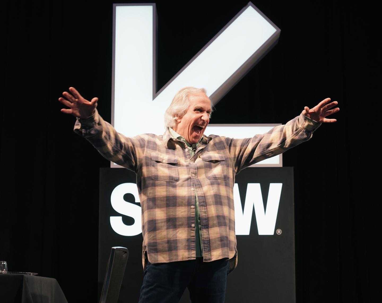 Henry Winkler speaks onstage at Featured Session: Henry Winkler Acting Workshop.